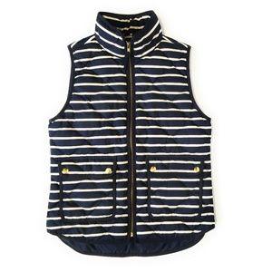 J CREW Navy Blue Striped Excursion Vest Size XS